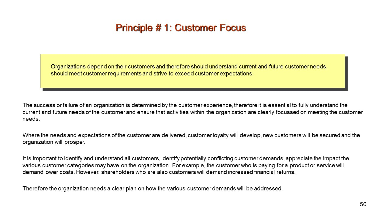 Principle 1. Customer Focus