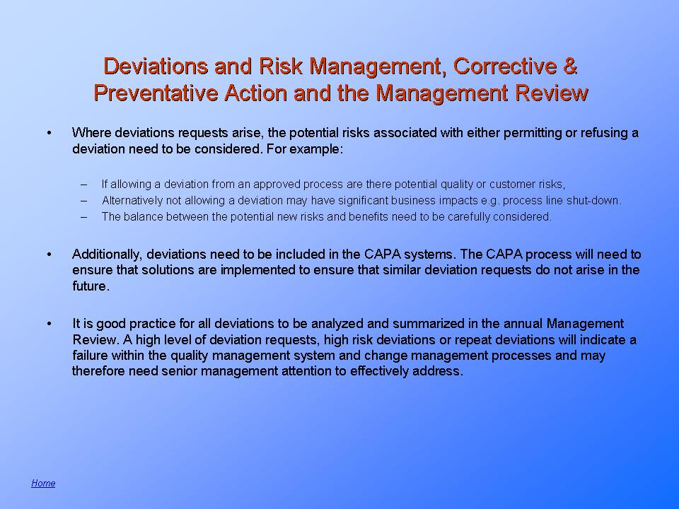 Process Deviation and Corrective Action