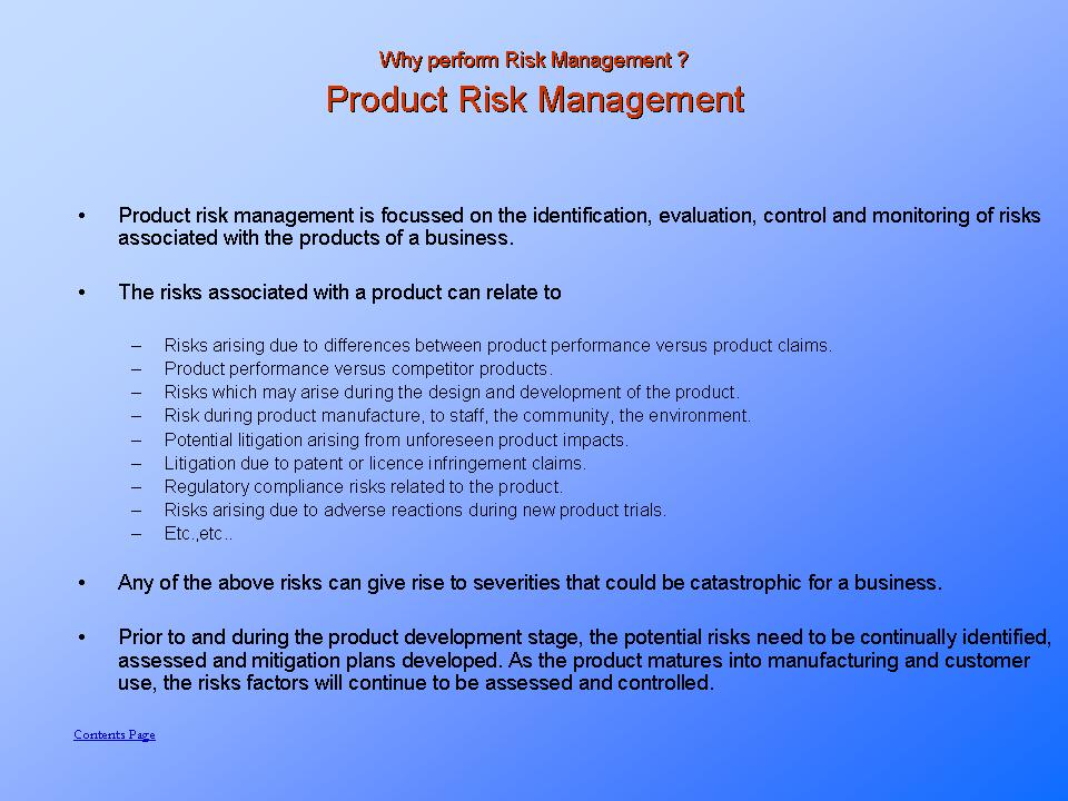 Product Risk Analysis and Risk Management