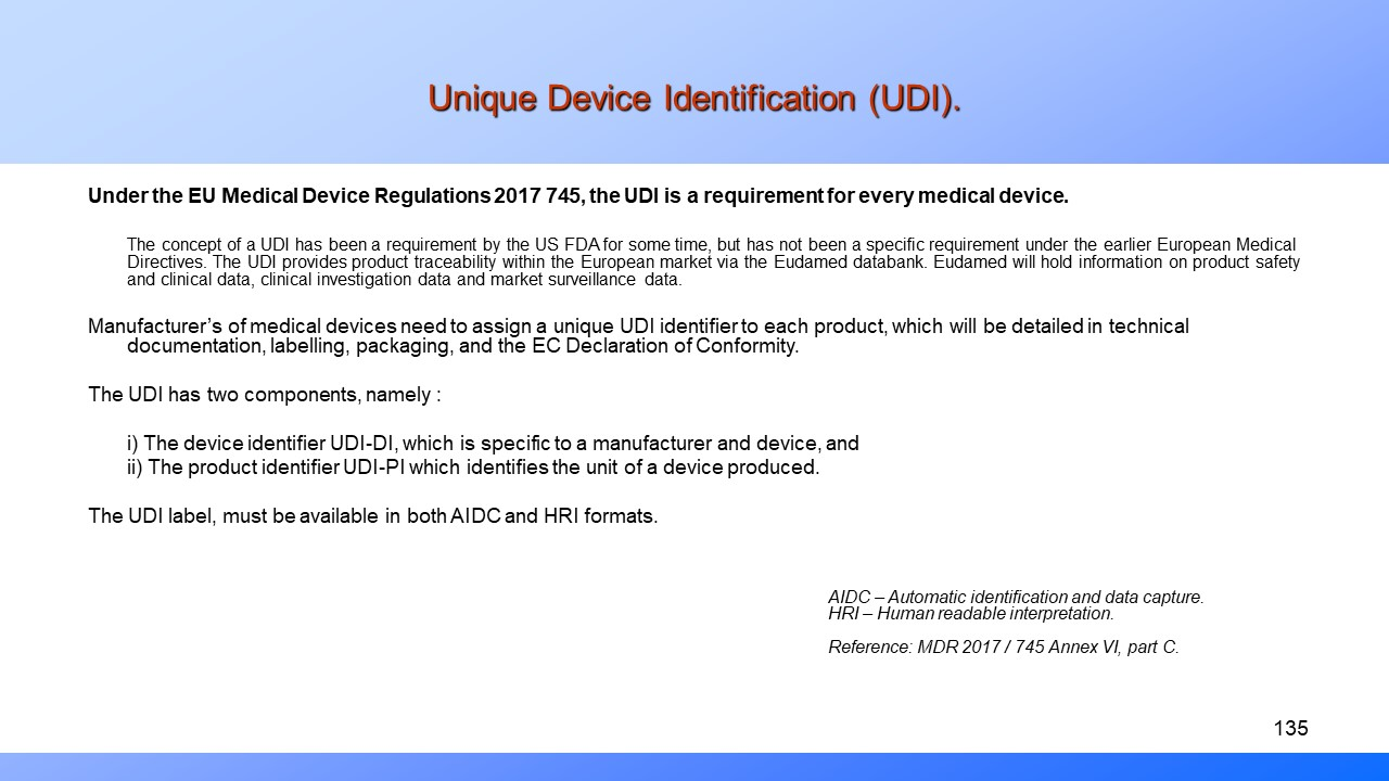 Medical Device Regulations. Unique Device Identifier.