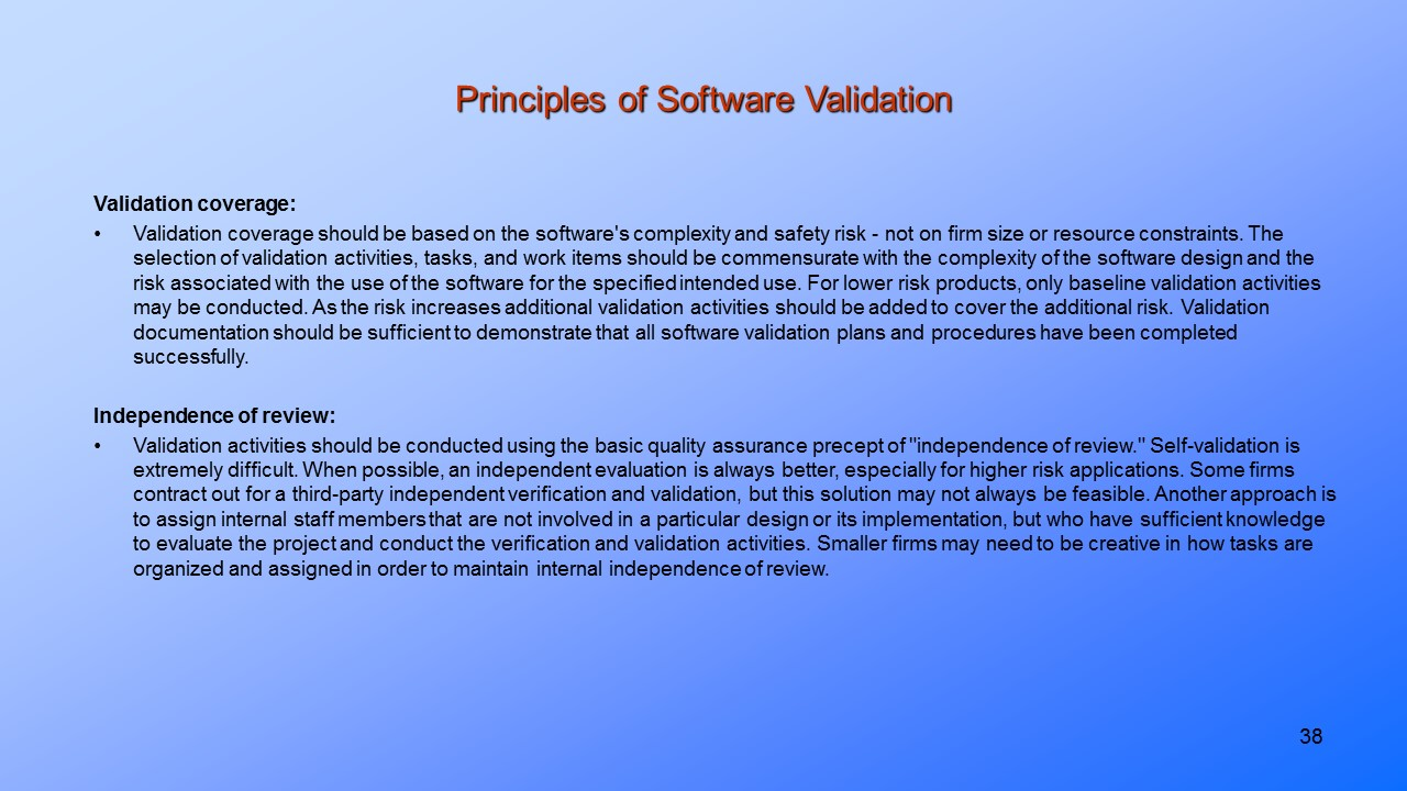 Principles of Software Validation
