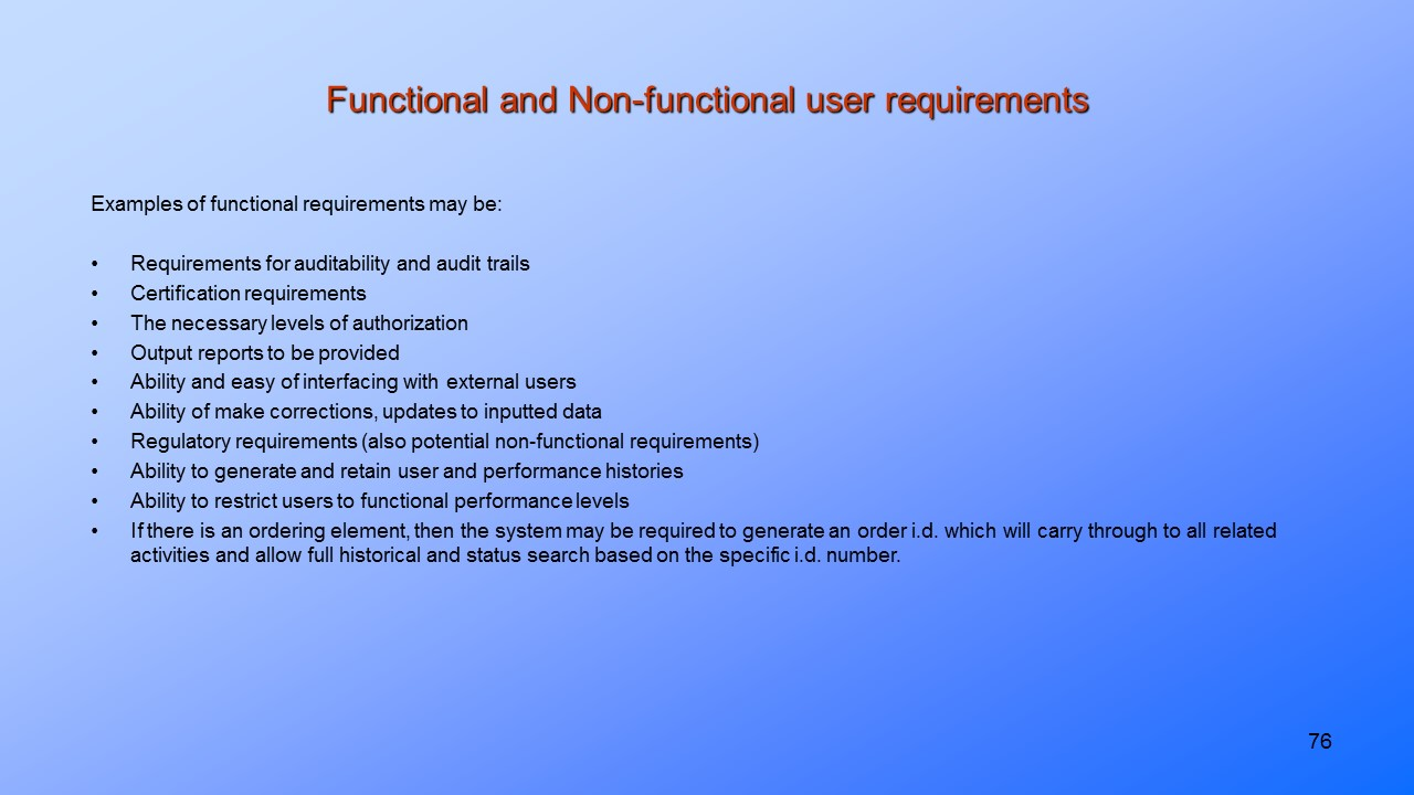 Functional and Non-Functional Software User Requirements