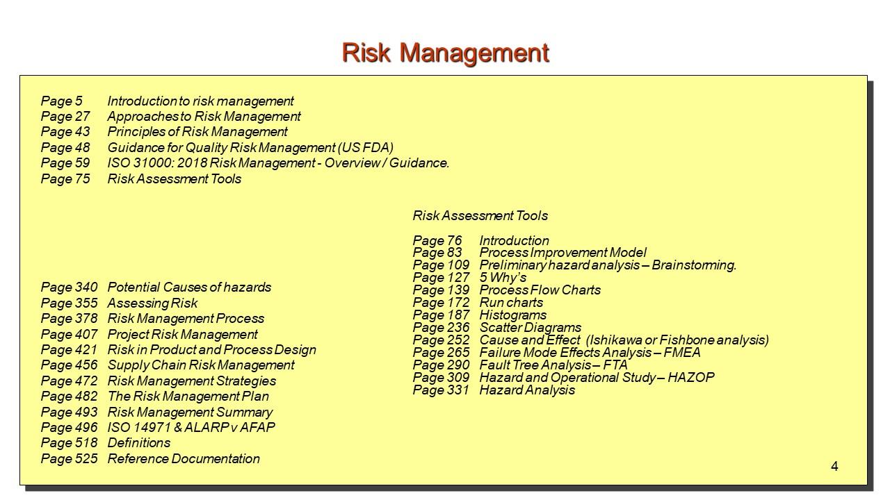 Risk Management Contents