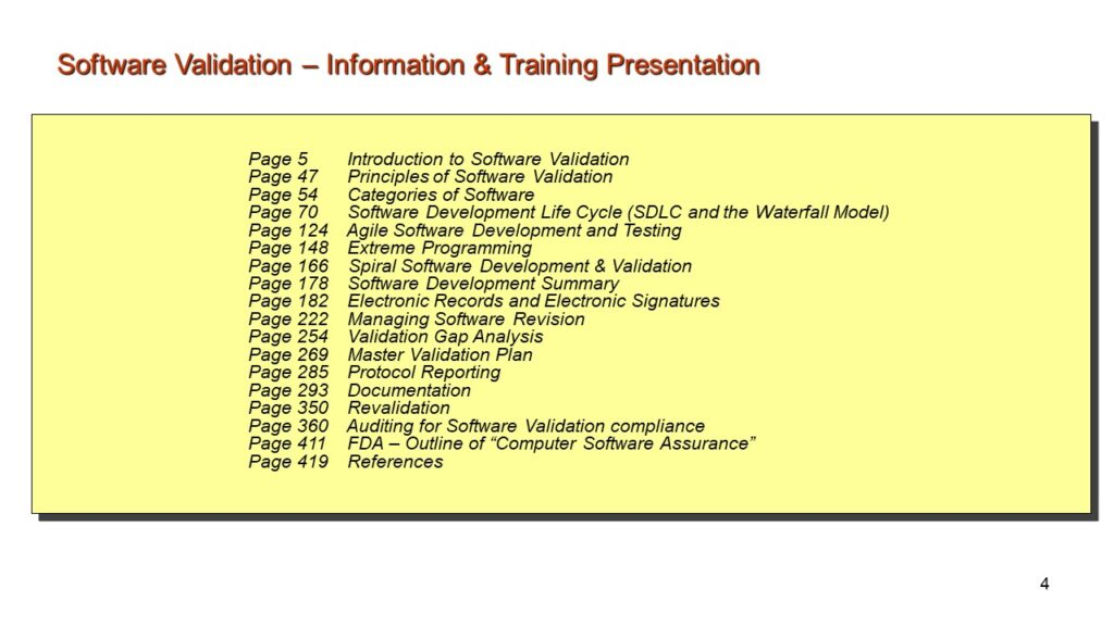 Software Validation. Information and Training Presentation